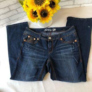 Seven 7 Boot Cut Luxe Distressed Denim Jeans Sz 16